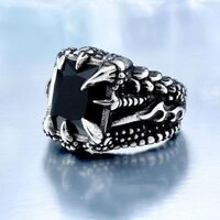 Black Stone In Dragon Claws /Ring/