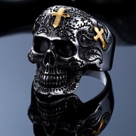 Graveyard Skeleton with Golden Crosses /Ring/